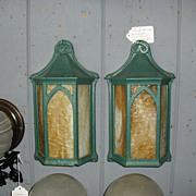 Arts & Crafts Porch Lights - Iron with Caramel Slag Glass