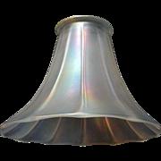 """Large Steuben """"Verre de Soie"""" Iridescent Art Glass Shade - 3 1/4"""" fitter"""