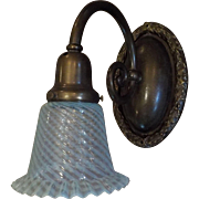 Large Decorated Cast Bronze Sconce with Opalescent Swirl Glass Shade - single only