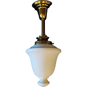 Neoclassical Pendant Light - Brass with Etched Milk Glass Shade