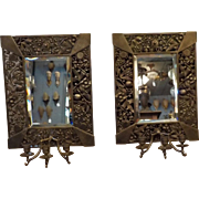 Eastlake Pierced Brass with Beveled Mirror Tripple Candle Wall Sconces - pair