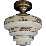 Art Deco Decorated Milk Glass Step Shade in Brushed Nickel Ceiling Fixture