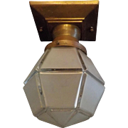 Arts and Crafts Interior/Exterior Ceiling Light  - Frosted Glass in Brass Fixture