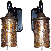 Spanish Revival Iron and Brass Porch Lights with Mica Cylinders