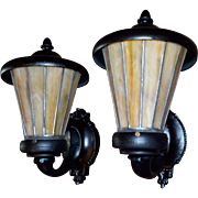 Arts and Crafts Iron Porch Lights with Leaded Caramel Slag Glass Shades