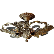 5 Light Cast Brass Flush Mount Ceiling Fixture