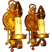 Spanish / Tudor Revival Iron Sconces with Original Polychrome Finish