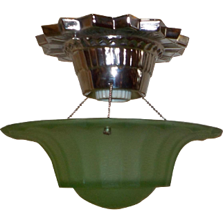 Art Deco Ceiling Light with Nickel Plate Fixture