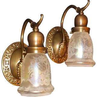 Decorated Cast Brass Early Electric Sconces with Cut / Iridescent Shades