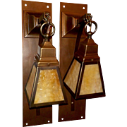 Large Brass Arts and Crafts Sconces with Caramel Slag Glass Shades