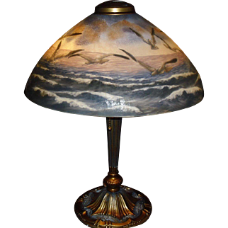 Pittsburgh Scenic Reverse Painted Ice Chip Table Lamp - Ocean with Sea Gulls