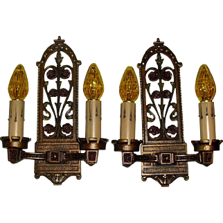 Spanish Revival Wall Sconces - Iron with Polychrome Finish - 2 pair available