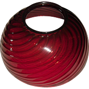 Victorian Cranberry Swirl Glass Parlor Lamp Shade