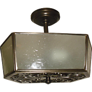 Brass and Frosted Seed Glass 2 Light Ceiling Fixture