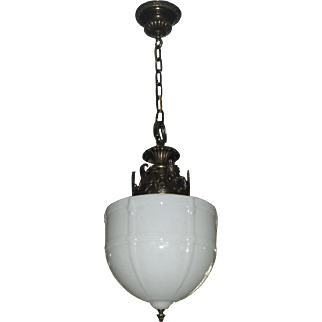 Large Embossed Milk Glass Shade on Decorated Bronze Pendant