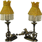 Early Electric Bronze Table Lamps with Beaded Shades