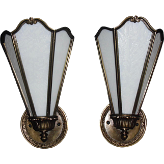 Art Deco Sconces - Cast Brass with Opalescent White Glue Chip Glass Panels