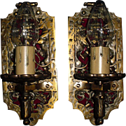 Gothic Wall Sconces - Iron and Brass with Original Bronze Patina