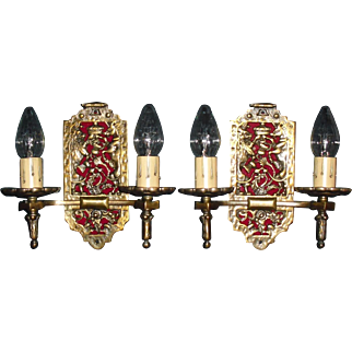 Gothic Double Candle Sconces - Iron and Brass with Original Finish