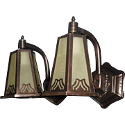 Arts and Crafts Porch Lights - Copper with Brass and Amber Seed Glass