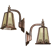 Arts and Crafts Porch Lights - Copper with Brass and Amber Seed Glass - 2 pair available