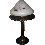 Decorated Copper Table Lamp with Art Glass Dome Shade