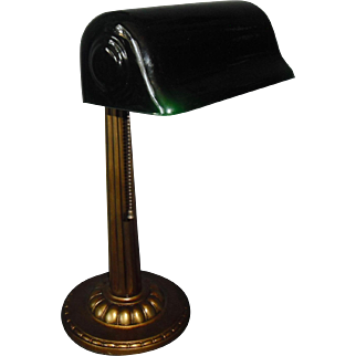 Verdelite Adjustable Desk Lamp with Original Green Cased Glass Shade
