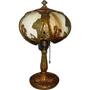 Bent Panel Boudoir Table Lamp with Asian Scene - Salem Brothers