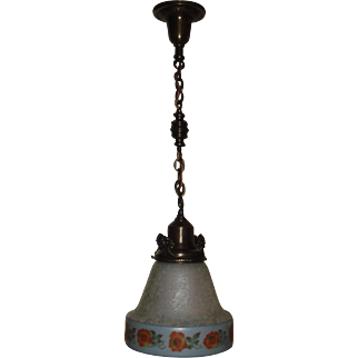 Large Bellova Acid Etched and Colored Glass Shade on Decorated Brass Pendant