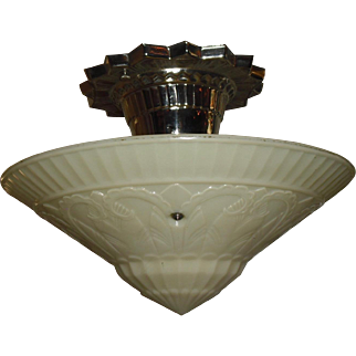 Virden Art Deco Ceiling Light - Original Nickel Plate Fixture