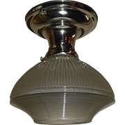 Holophane Glass Shade in Nickel Plated Ceiling Fixture