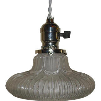 Unusual Holophane Pendant Light with Nickel Plated Fixture