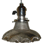 Holophane Pagoda Pendant Light on Nickel Plated Fixture