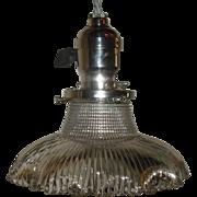 Holophane Pagoda Pendant Light on Nickel Plated Fixture
