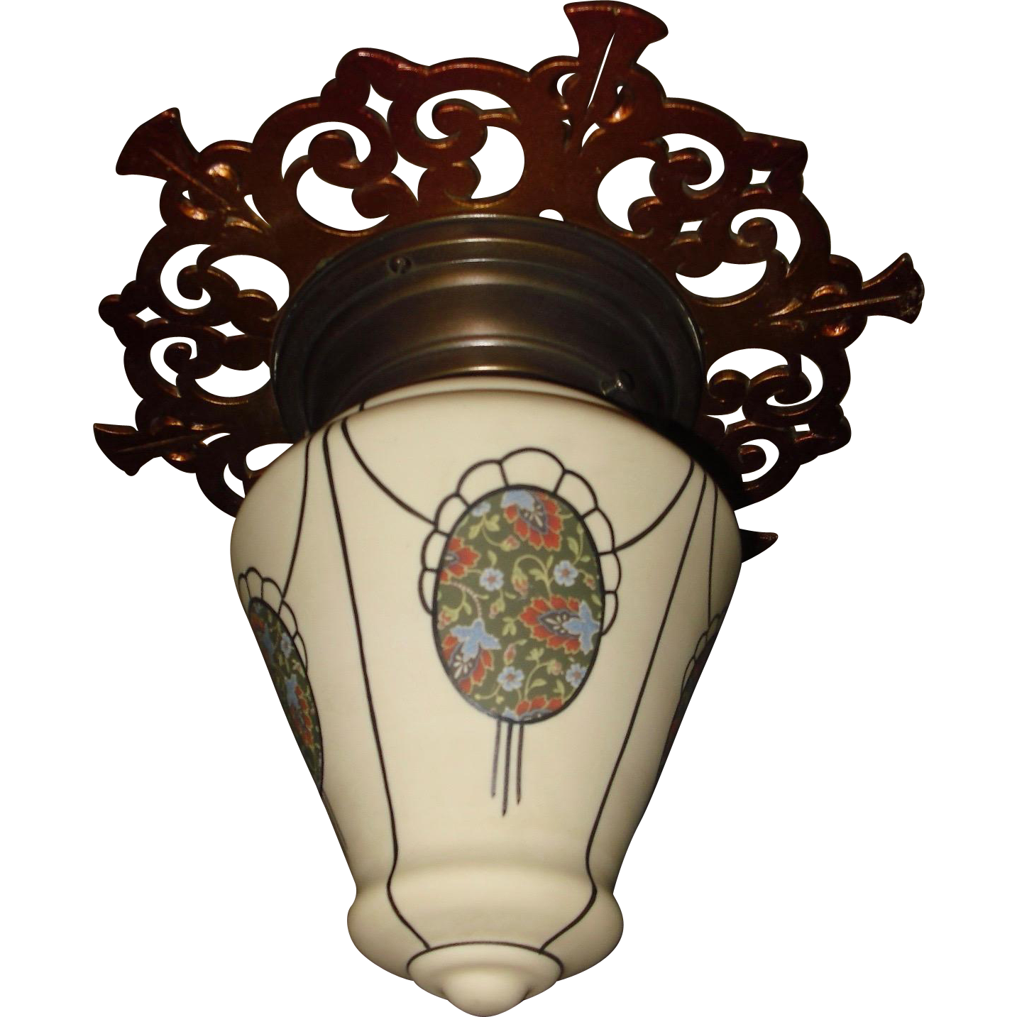Flush Mount Ceiling light - Decorated Bristol Glass Shade in Decorative Fixture