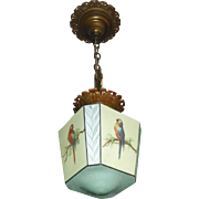 Art Deco Decorated Parrot Pendant Light - 2 available