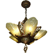Virden Art Deco Slip Shade 5 Light Chandelier