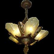 Virden Art Deco Slip Shade 5 Light Chandelier