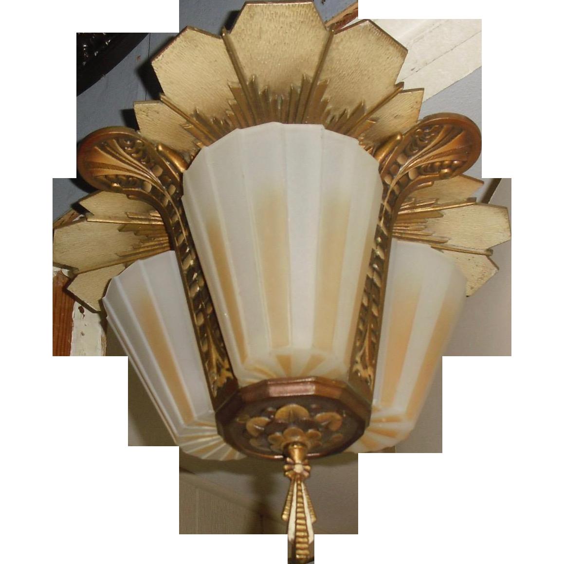 Beardslee Art Deco Slip Shade 3 Light Ceiling Fixture