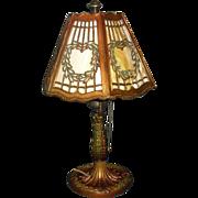 Salem Brothers Hexagonal Slag Glass Boudoir Table Lamp
