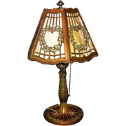Salem Brothers Hexagonal Slag Glass Boudoir Table Lamp