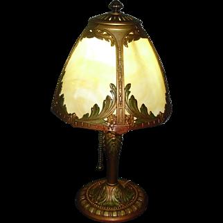 Miller Bent Panel Slag Glass Boudoir Table Lamp