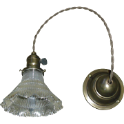 Holophane Glass Pendant Light - Brass Fixture - 3 available