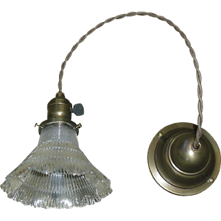 Holophane Glass Pendant Light - Brass Fixture - 3 available