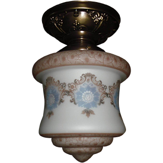 Bellova Acid Etched and Colored Glass Shade on Decorated Brass Ceiling Light Fixture