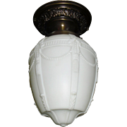 Neoclassical Embossed Milk Glass Shade in Decorated Brass Ceiling Light Fixture - 2 available