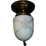 Ceiling Light w Hand Painted Cased Glass Shade in Decorated Brass Fixture