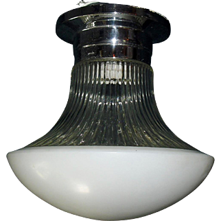 Lightolier Mid Century Modern Chrome and Glass Flush Mount Ceiling Light Fixture