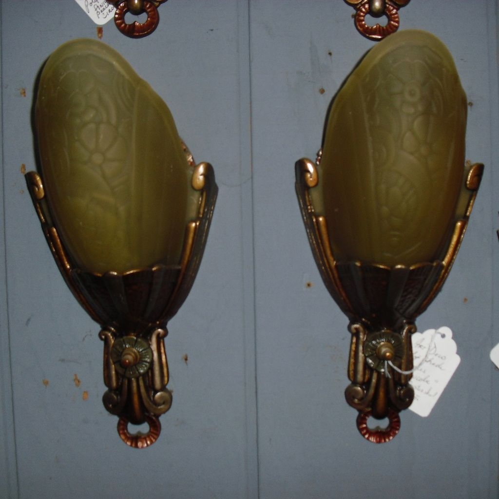 Lincoln Art Deco Sconces with Frosted Amber Glass Slip Shades- 2 pair available