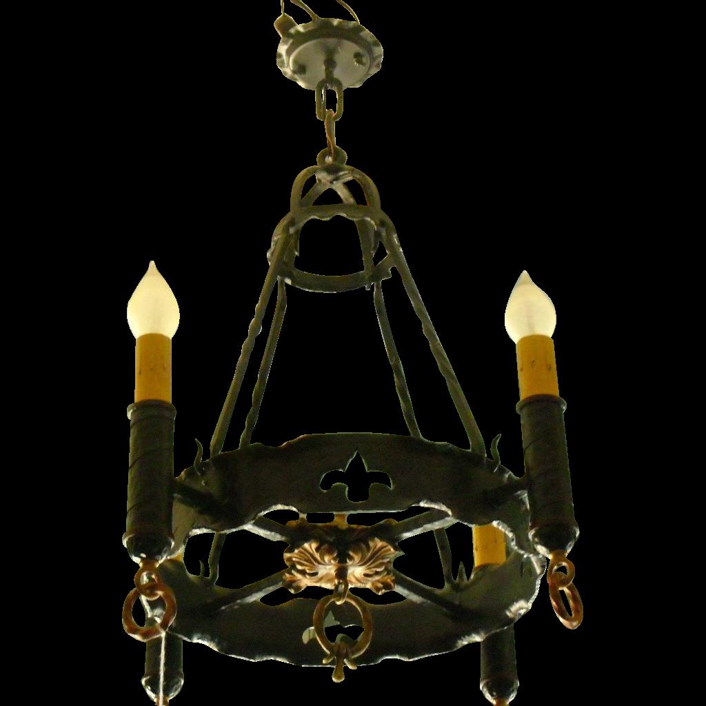 Spanish Revival 4 Light Chandelier From